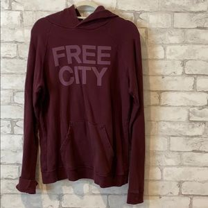 Maroon red Free City hoodie for $100